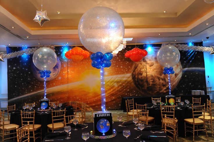 Space Themed Bar Mitzvah Centerpieces with Sparkle Balloons