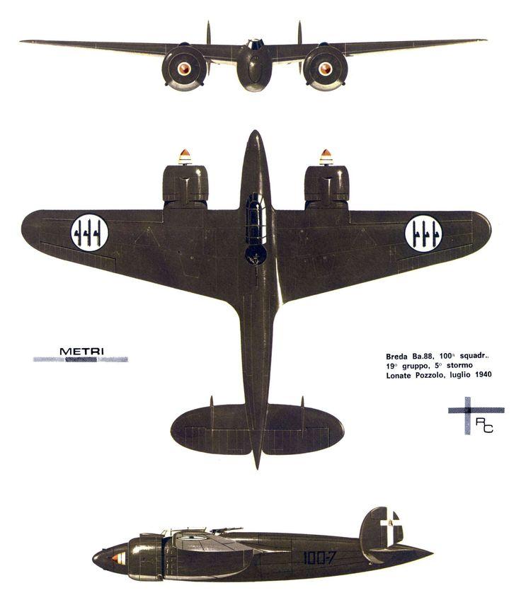 Breda Ba. 88 - Regia Aeronautica, 100a Squadriglia, 19° Gruppo, 5° Stormo, Leonate Pozzolo, luglio 1940