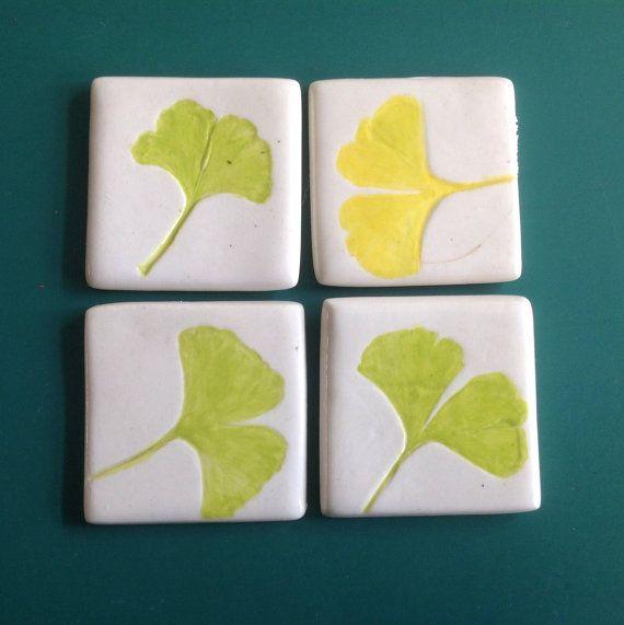 set of 4 ceramic tiles leaves of the gingko door HollandCeramics