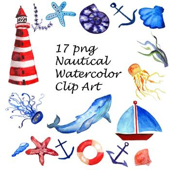 Hand-painted watercolor NAUTICAL clipartWhat you get:- 17 separate png with transparent backgroumd, 300 dpi. - watermark will not appear on purchased imagesFor personal and commercial use. Made with love! Enjoy :)