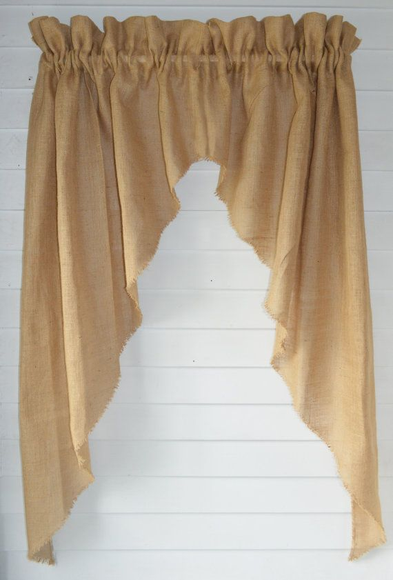 Add to the charm of your rustic / primitive décor with these burlap panels! They come in a variety of colors and sizes for that perfect look!  You will receive two 45 wide panels in the length you choose. The picture shows two 45 panels hanging on a 32 rod. Panels have a generous 3 rod pocket that will fit pole type rods or standard white curtain rods. They can also be hung using ring clips.   Sides of panels and have been left natural with the frayed look. Three inch top ruffle (header) to…