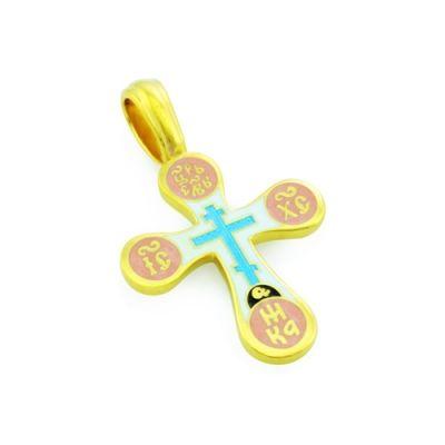 Крест нательный с эмалью из серебра KRSPE0310