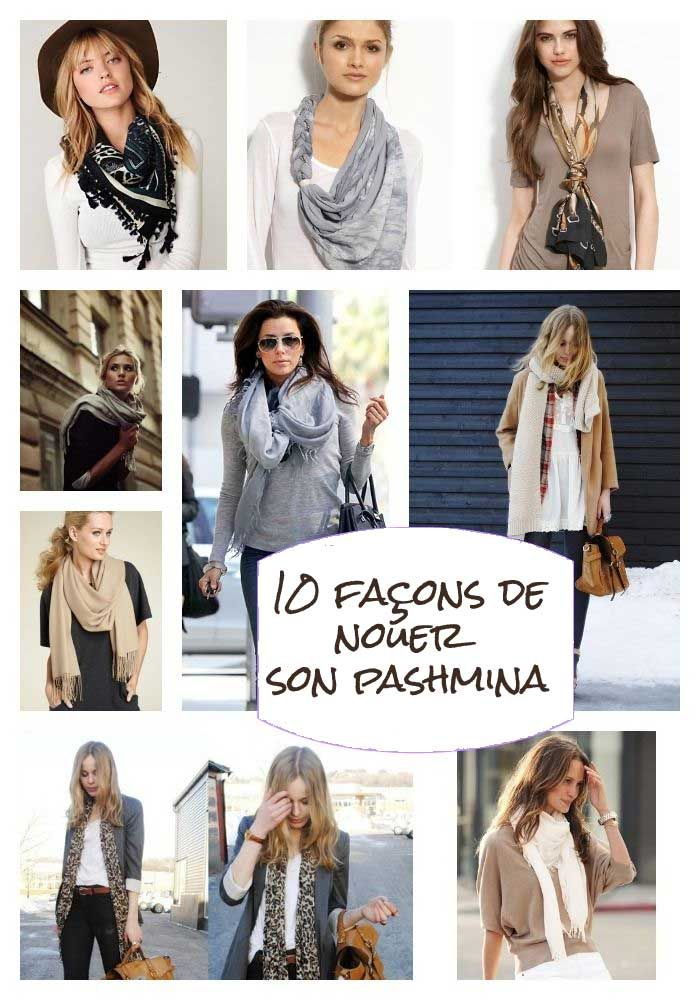 Les 57 meilleures images du tableau nouer un pashmina sur - Comment porter un petit foulard carre ...