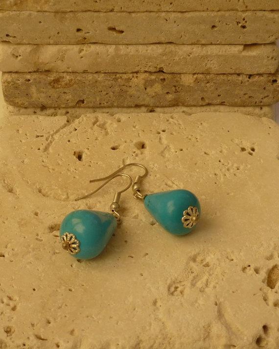 Earrings Turquoise tear drop earrings Feminine by ShawlsandtheCity, $11.00