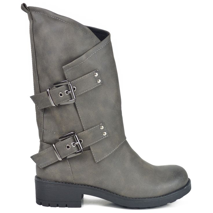 Grey bootie with buckles