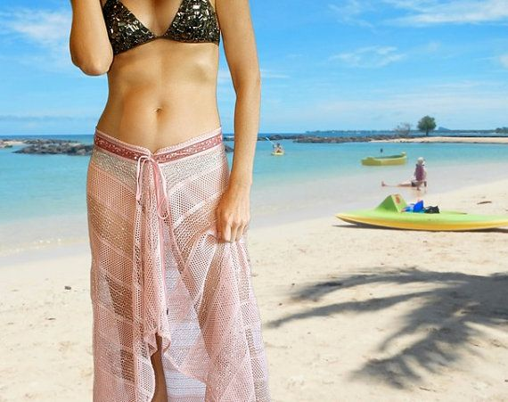 Bathing suit cover up skirt in pink crochet with by ThaiTie, $34.95