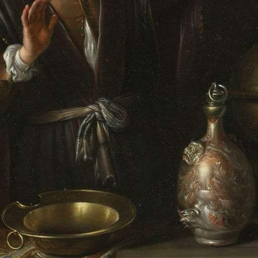 Gerard Dou: Detail van: Arts met een urinaal in een venster (de dokter). 1653. Kunsthistorische Museum, Wenen.