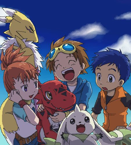 Digimon tamers - Henry, Takato, Rika, Terriermon, Guilmon & Renamon