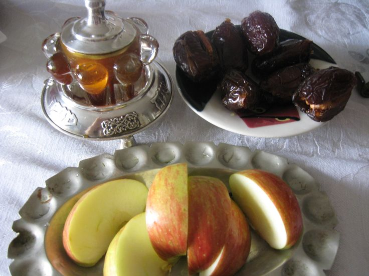 apples, dates and walnuts and honey