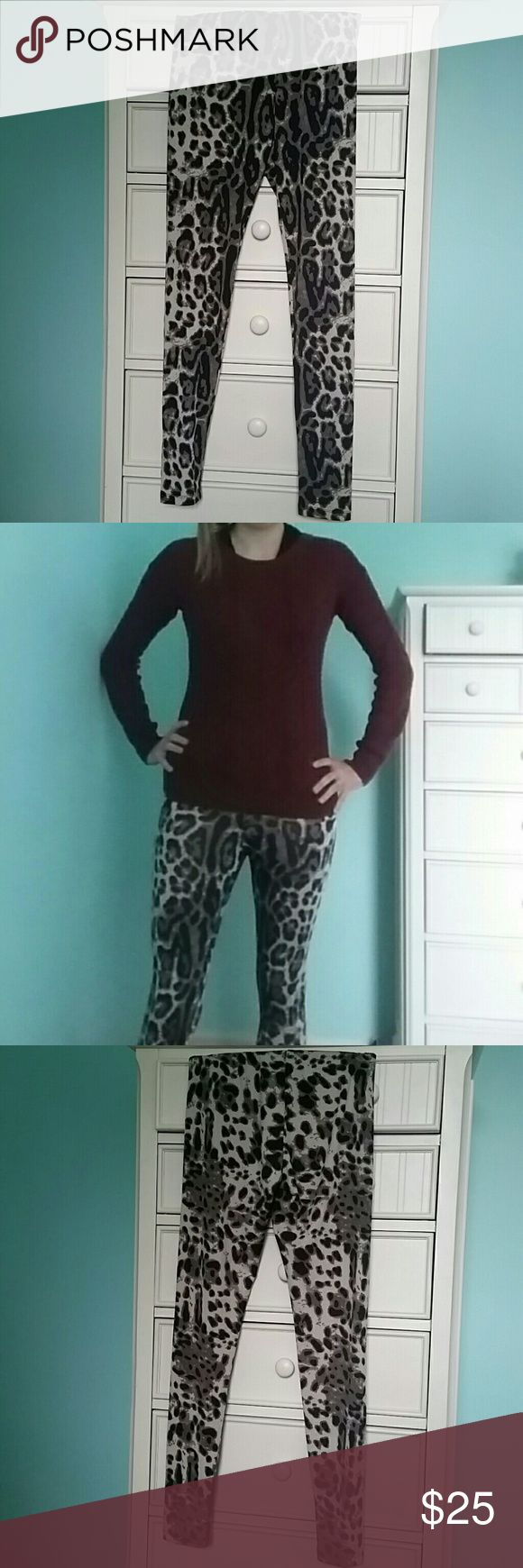 Kardashian Kollection Leggings Cheetah Small These are a gorgeous, silky pair of stretch leggings or tights by Kardashian Kollection. They are from the Fall 2013 Collection. They are have a cheetah or leopard print that is black, brown, and tan/beige/cream. The unstretched waist is 12.5 inches and the unstretched length is about 37 inches. They are used, but in good condition! Offers welcome! Thanks for looking! ☺ Kardashian Kollection Pants Leggings