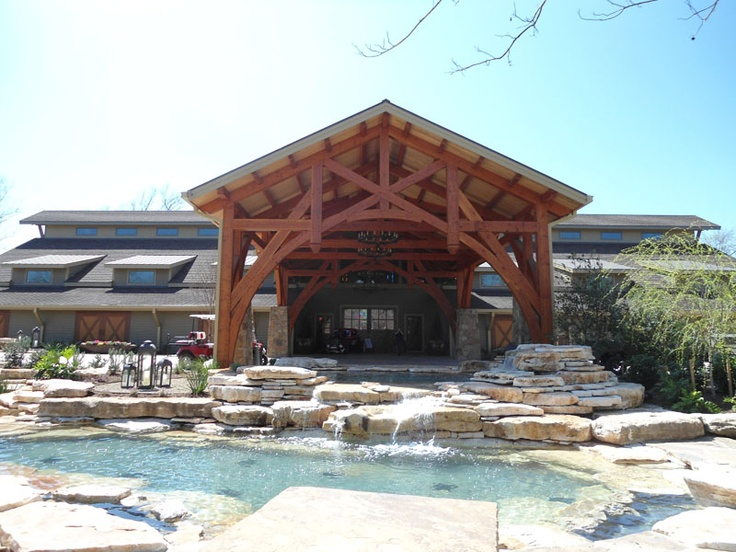 Timber Frame Entrance With Pond Www.texastimberframes.com Https://www.