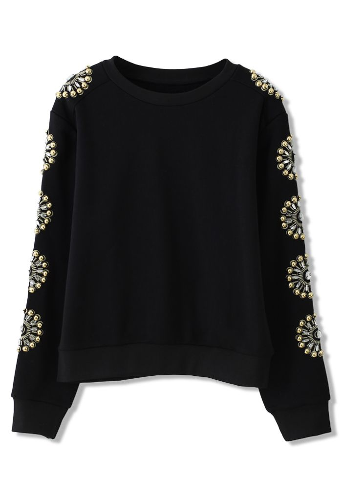 Floral Crystal Embellished Sleeves Sweat Top - Tops - Retro, Indie and Unique Fashion