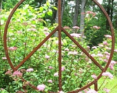 Peace in the Garden, would LOVE to have this! {custom made outdoor peace sign sculptures using half inch thick square solid steel bar} @bluemetaldesign @etsy