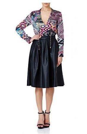Forever Unique Freida Black Leatherette Skirt