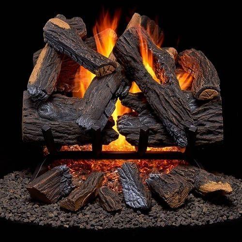 Duluth Forge Vented Gas Fireplace Log Set - 18 in., 45,000 BTU, Heartland Oak