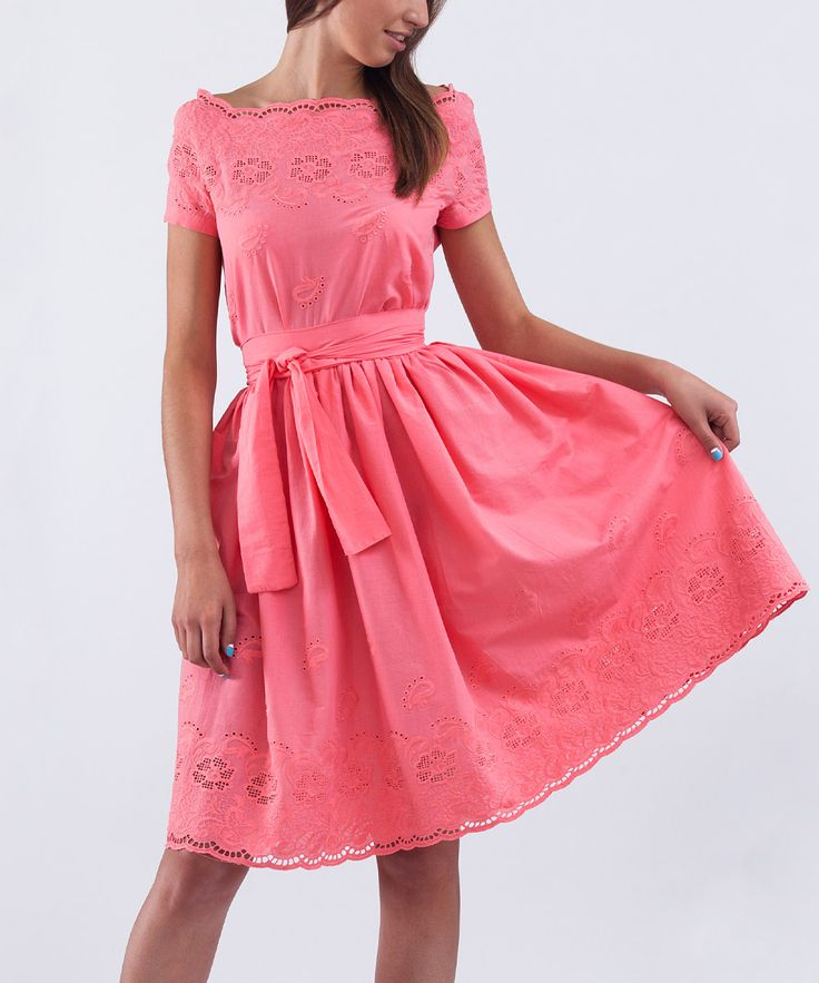 Look at this Lemon Coral Eyelet-Trim Tie-Waist A-Line Dress - Plus Too on #zulily today!