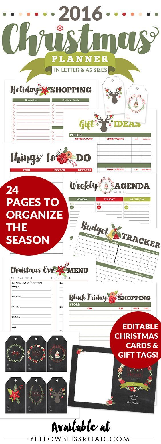 2016 Christmas Planner Letter and A5 sizes - Everything you need to organize your…
