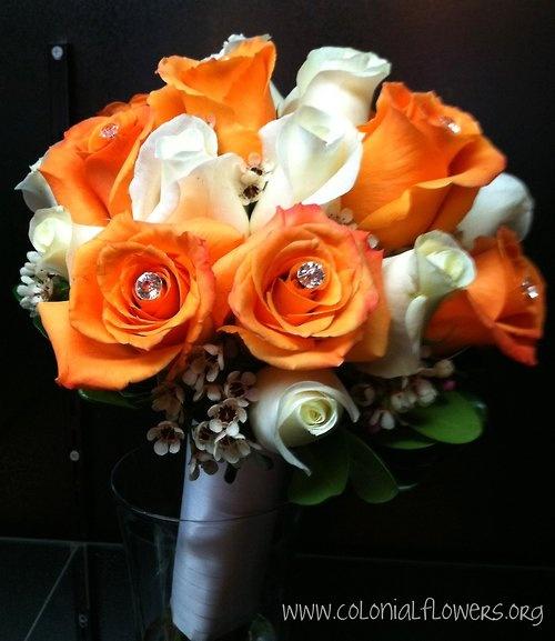 White and orange rose bouquet
