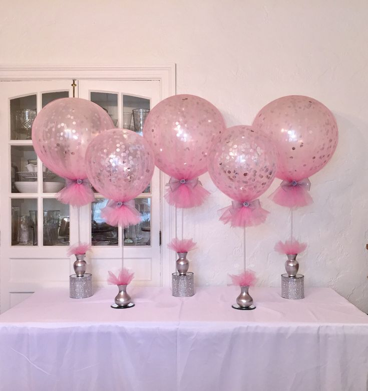 Tulle Confetti Balloons in Pink, Gray and Silver tones.