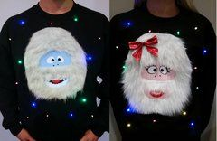 BUMBLE & BUMBELLA - COUPLES SWEATERS - ABOMINABLE SNOW COUPLE - LIGHT UP - UGLY CHRISTMAS SWEATER
