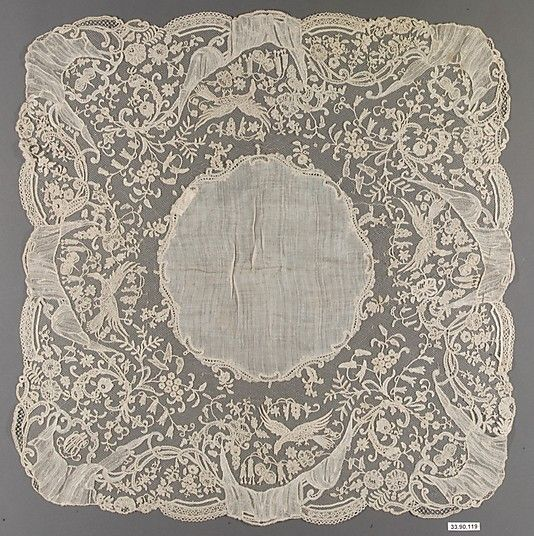 Handkerchief, third quarter 19th century, Flemish (Brussels), made of  Bobbin lace, Dimensions: L. 16 x W. 16 1/2 inches (40.6 x 41.9 cm)