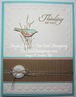 CASE of Jan Tink's Simply Sketched card.  Simply sketched, wetlands, woodgrain, framed tulips, very vintage designer buttons, stampin up ~www.TooCoolStamping.com