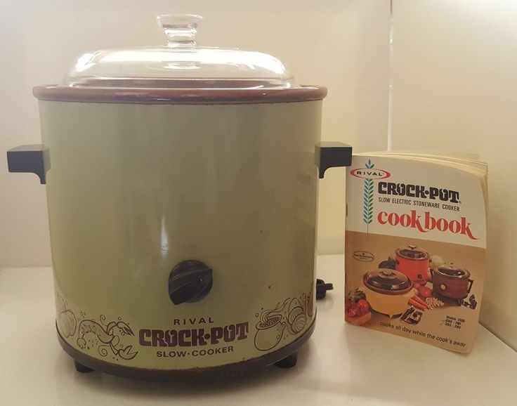 Vintage 70s Rival Crock Pot Slow Cooker Model #3100 Avocado Green USA Made 3.5qt #Rival