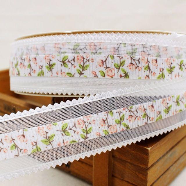 Envío libre (32mm) flores blancas ahuecan hacia fuera la carta cinta de poliéster cinta de dibujos animados diy haribow accesorio de la ropa, lk117