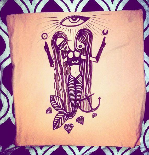 mermaid diamonds anchor pillow case eye gothic occult tattoo
