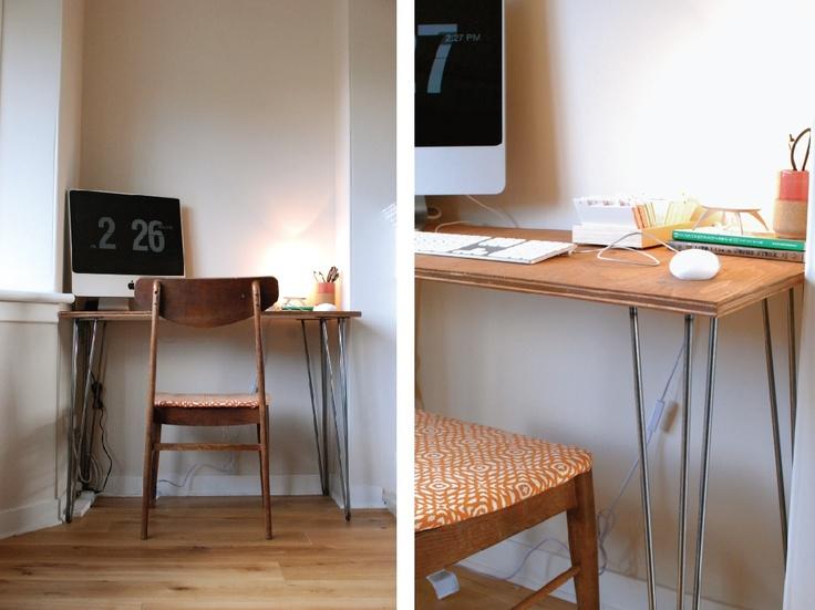 sugar lander: HANDMADE: hairpin leg desk DIY