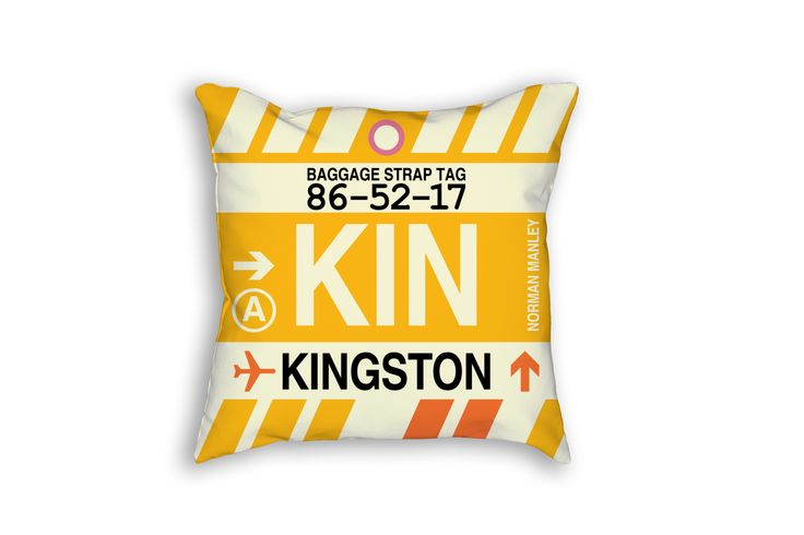 KIN Kingston Airport Code Baggage Tag Pillow
