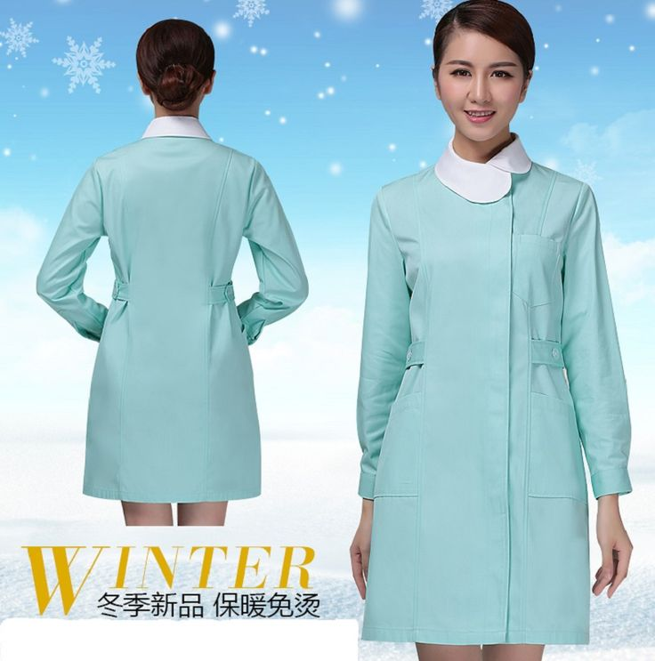 Autumn and winter thickening long-sleeve nurse clothing Women Pink and Green coat nurse clothing Hospital Medical  work uniforms #Affiliate