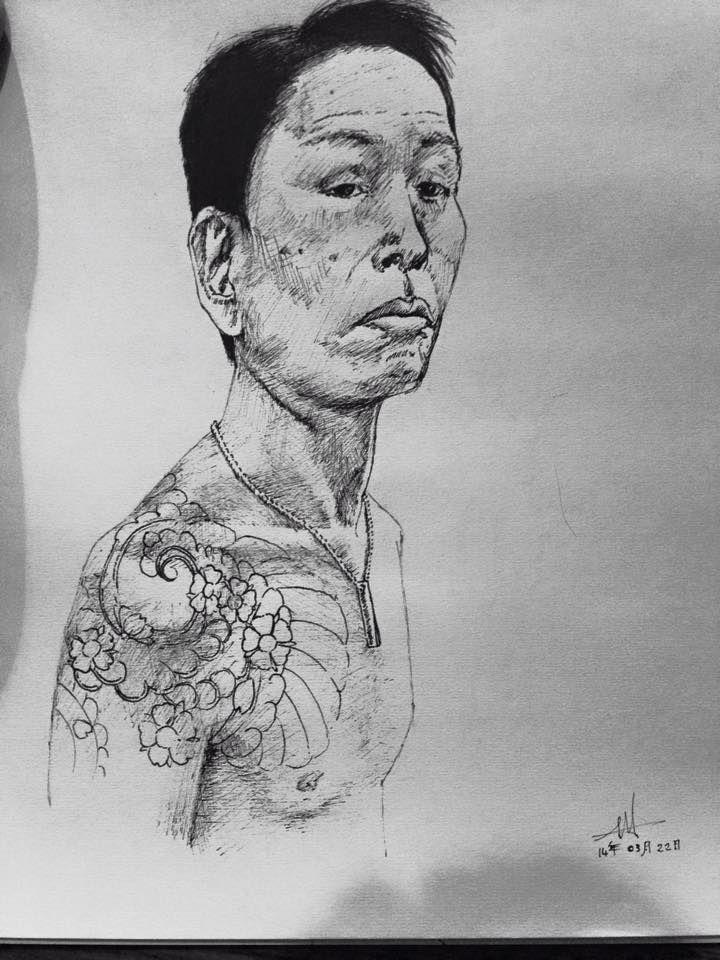 Yakuza / Japanese Gangster illustration with pen.