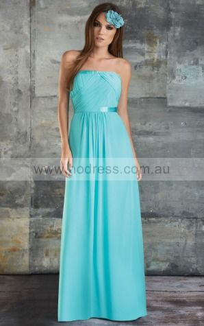 Chiffon Strapless Empire A-line Floor-length Bridesmaid Dresses 0740276--Hodress