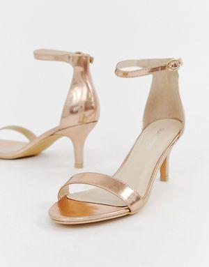 e93e5ed1343 Glamorous rose gold kitten heel sandals