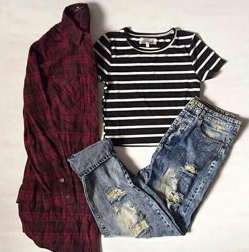 fall, flannel, girl, jeans, outfit, stripes, style