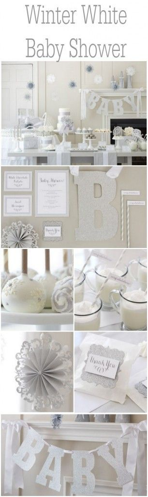 Ideas for an all white winter baby shower: