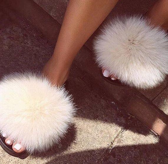 fa1583675f402 Carmen Cream Fox Fur Slides | Bella Fur Couture in 2019 | Fur slides ...
