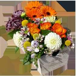 This joyous arrangement is blooming with gerberas, roses and various chrysanthemums and is easy t manage. Just add water regularly to maintain!