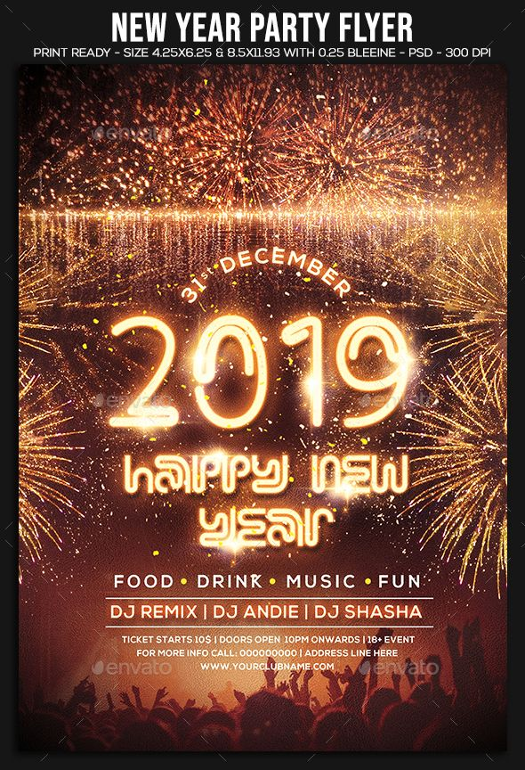 2019 new year party flyer template psd new year party flyer