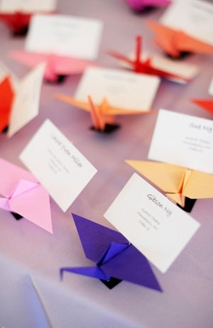 Cranes for place card holders #origami #stationery