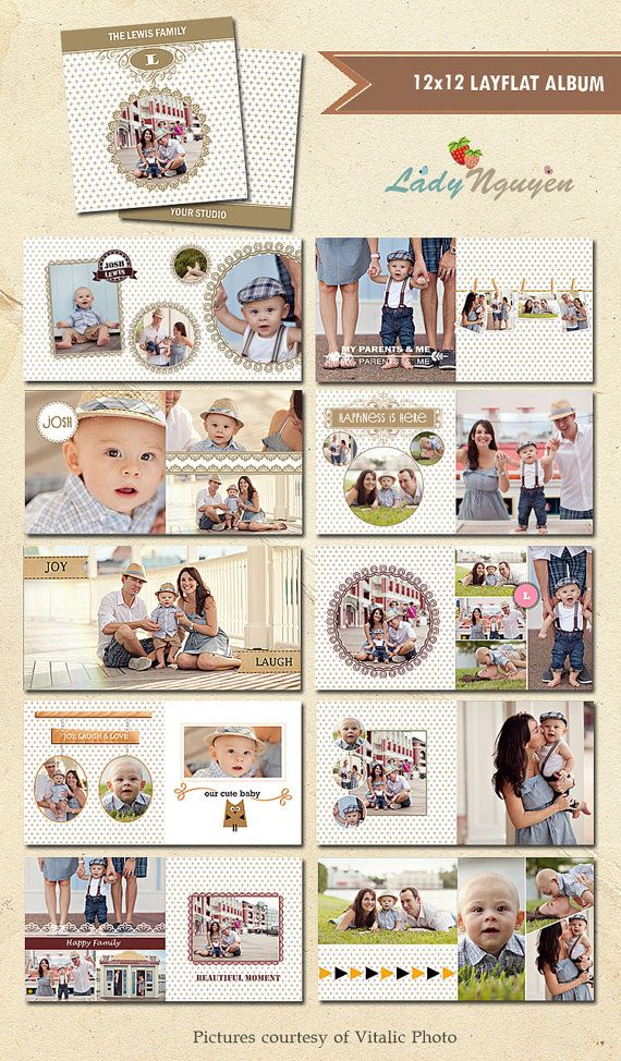 INSTANT DOWNLOAD  12x12 Album template for by LadyNguyen on Etsy, $35.00