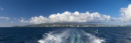 Caribbean Island Panorama, Panoramic Image from the sea on a big city of the Caribbean island and the volcano shrouded in clouds. Fort-de-France, Martinique. Big Art Photo Prints #martinique #madinina #caribbean