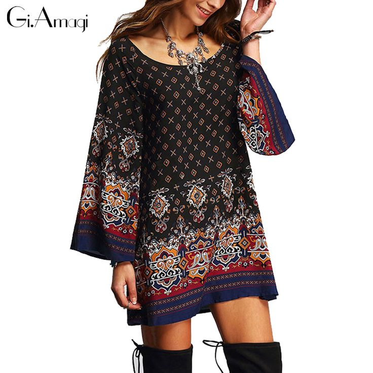 2016 Summer new European retro ethnic Baroque printing plus size loose floral dress Casual Beach Shift Dress