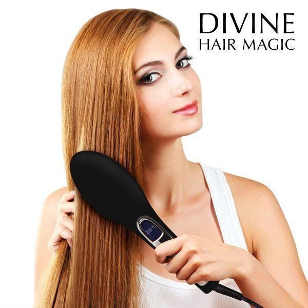 BROSSE LISSANTE ÉLECTRIQUE   la brosse lissante électrique Brushture de la prestigieuse gamme Divine Hair Magic! Cette brosse électrique vous permettra de lisser vos cheveux, de façon rapide et aisée, tout en facilitant la coiffure et en évitant les frisottis. Elle donnera, en outre, un séduisant effet volume naturel à votre chevelure.