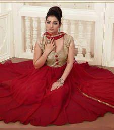 Buy Designer salwar kameez -Maroon Georgette Anarkali Suit semi-stitched-salwar-suit online