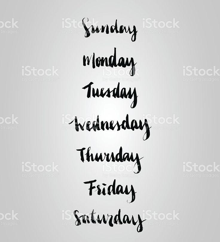 Brush Lettering (weekdays) Set vetor e ilustração royalty-free royalty-free
