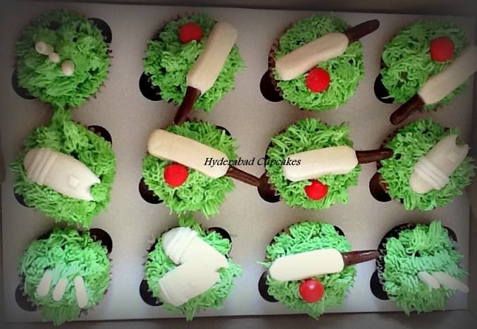 Cricket themed custom cupcakes with handmade edible cricket bats, balls, wickets & pads! Hyderabad Cupcakes - Custom Designer Fondant Cakes, Cupcakes, Cake Pops, Wedding Cakes & more!