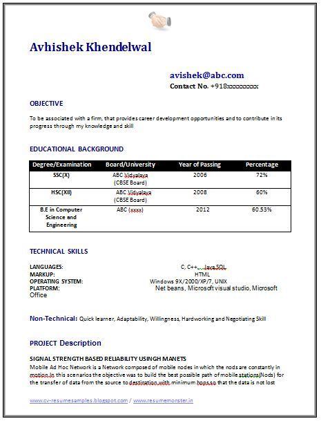 Example Resume of a B.E. Computer Science Engineer (CSE) with Professional Job Profile and Career Objective, Professional Curriculum Vitae with Free Download in Word Doc / PDF, (2 Page Resume) (Click Read More for Viewing and Downloading the Sample)  ~~~~ Download as many CV's for MBA, CA, CS, Engineer, Fresher, Experienced etc / Do Like us on Facebook for all Future Updates ~~~~
