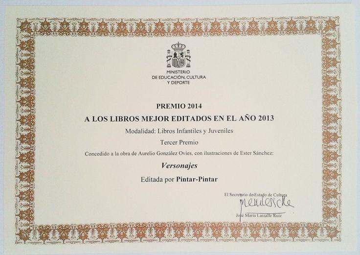 """Diplomas acreditativo correspondiente a los Premios Nacionales a los Libros Mejor Editados del 2014 - """"Versonajes"""""""
